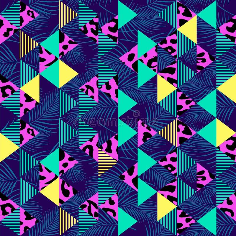 Teste padrão sem emenda tribal com o fundo abstrato geométrico de 90s memphis multicolorido ilustração do vetor