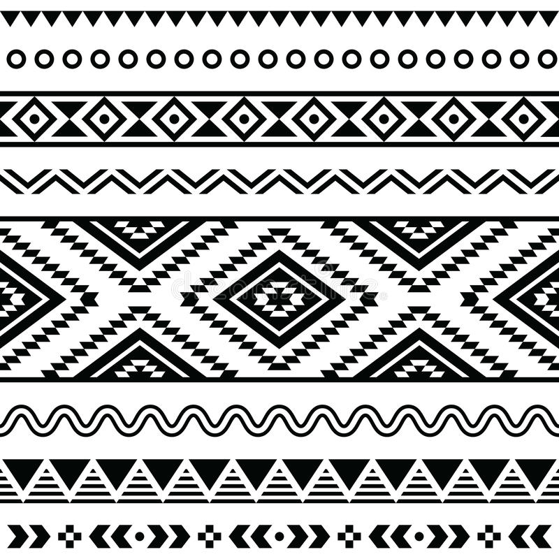 Teste padrão sem emenda tribal, fundo preto e branco asteca ilustração do vetor
