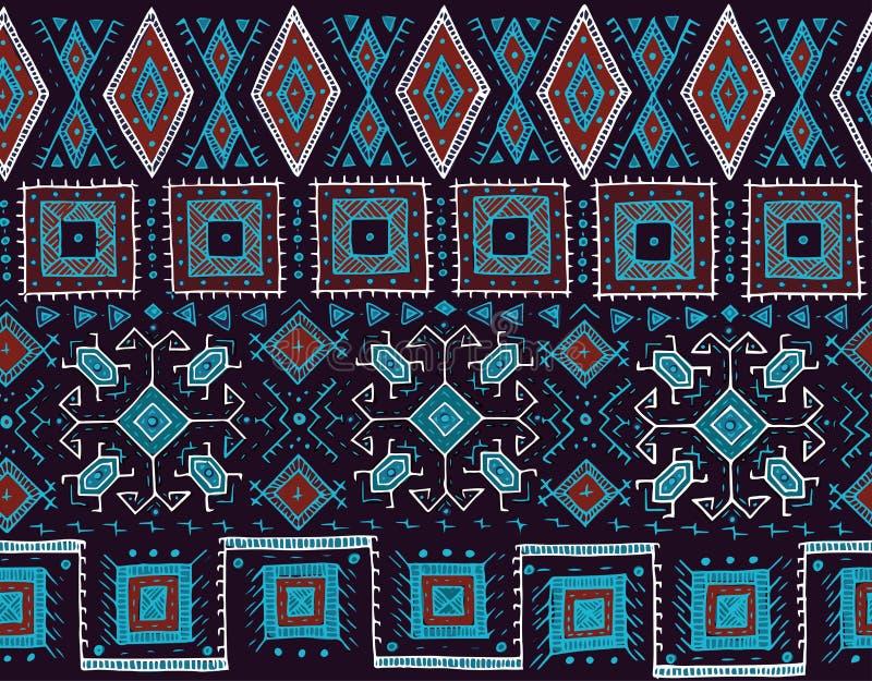 Teste padrão sem emenda tribal indiano ou estilo étnico africano do selo Imagem desenhado à mão do vetor para a matéria têxtil, d ilustração stock
