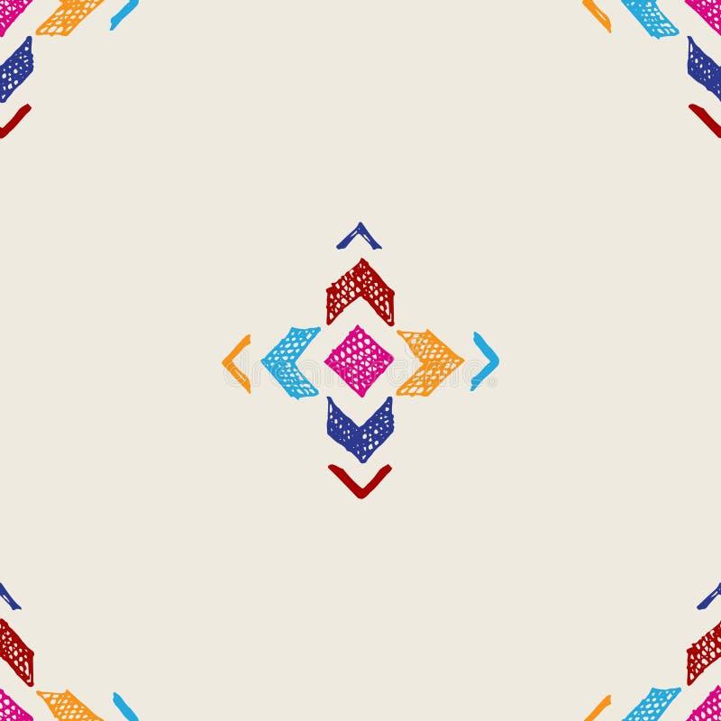 Teste padrão sem emenda tribal tirado mão ilustração stock