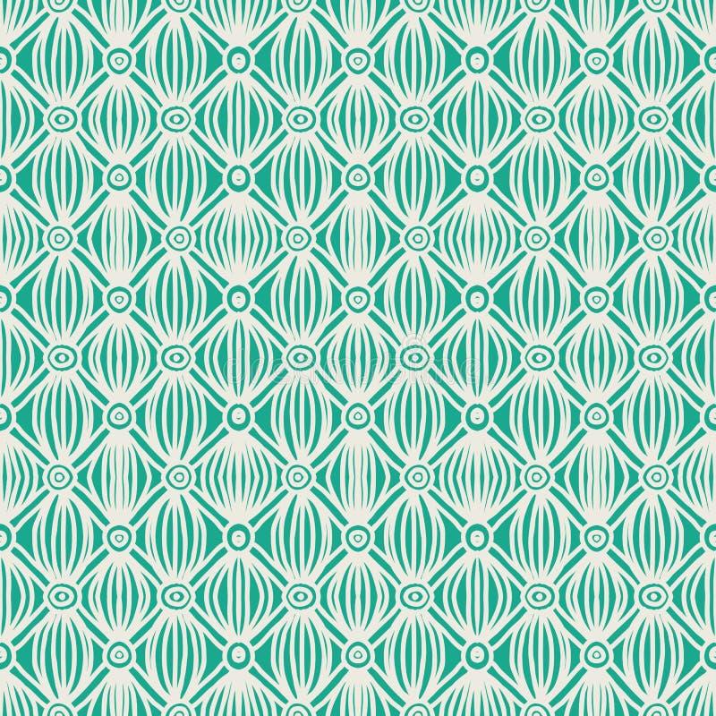 Teste padrão sem emenda tribal verde linear ilustração royalty free