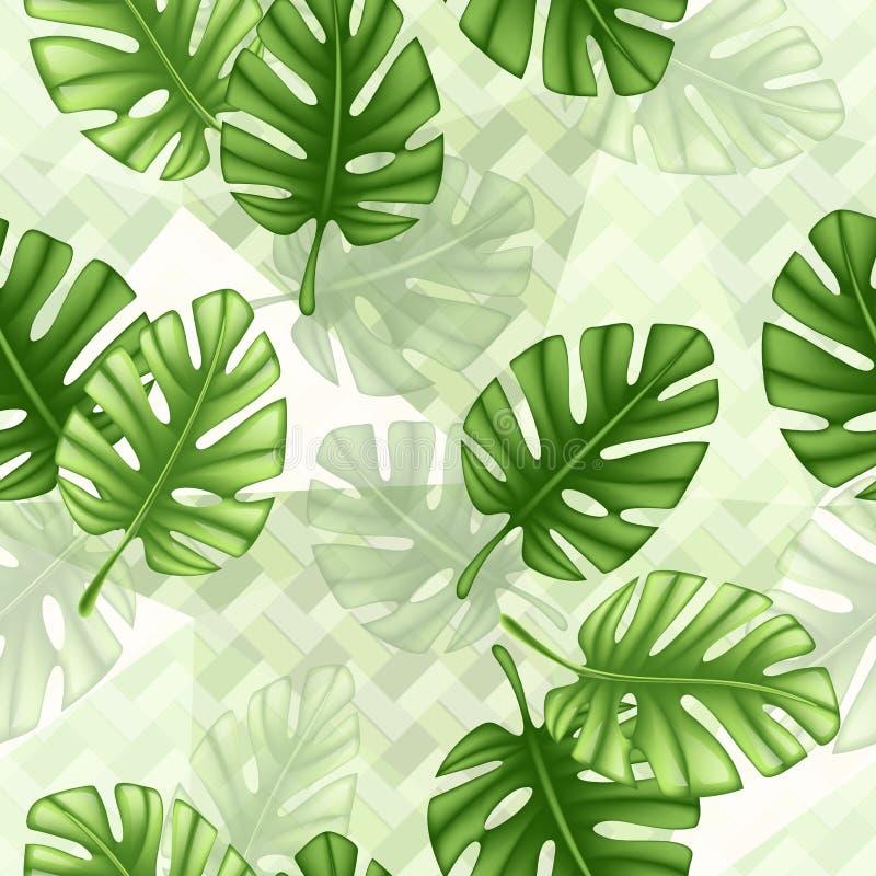Teste padrão sem emenda tropical com monstera da folha Textura da c?pia do papel de parede da tela para o fundo, textura, teste p ilustração stock