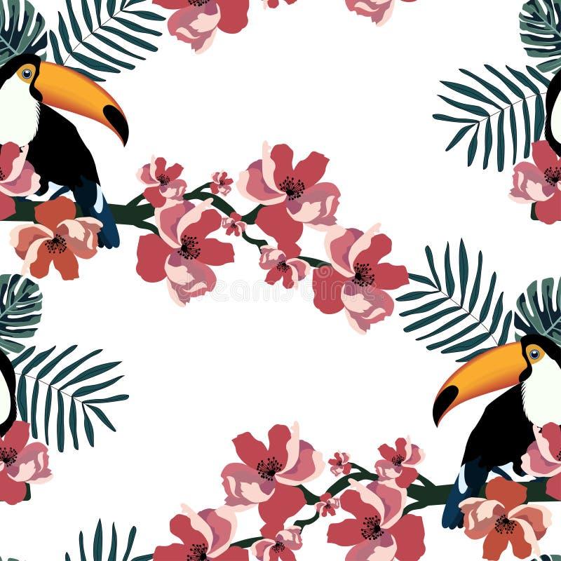 Teste padrão sem emenda tropical com pássaros bonitos, folhas e flores Fundo do vetor do verão com tucanos Textura de matéria têx ilustração stock