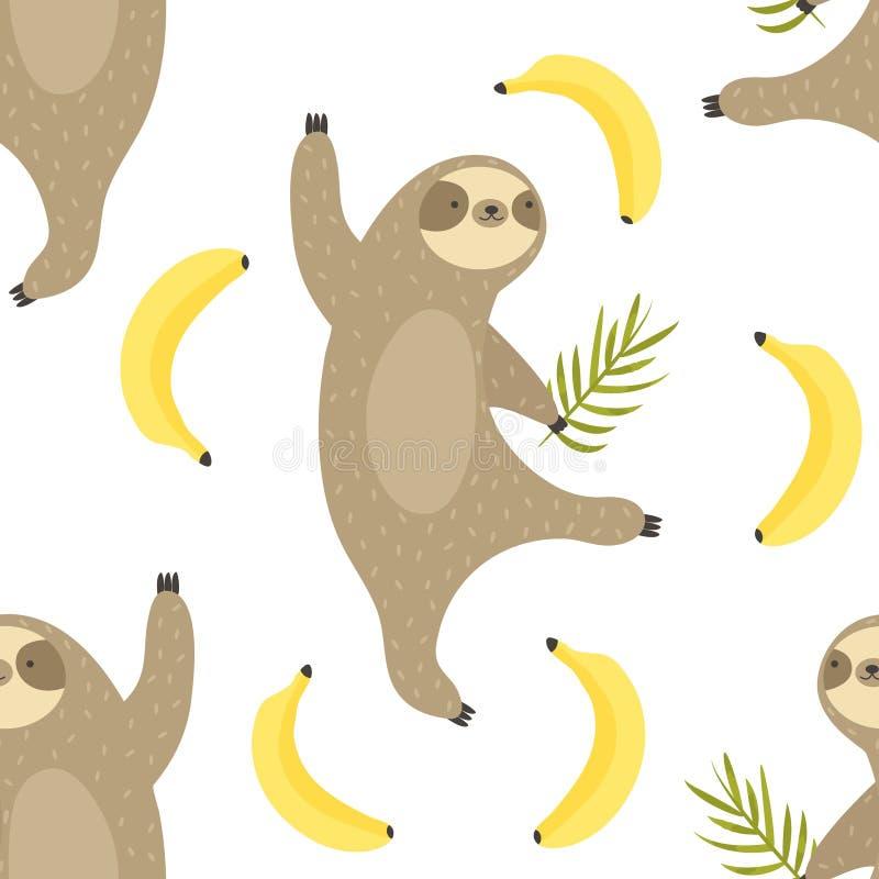 Teste padrão sem emenda tropical com preguiças da dança ilustração stock