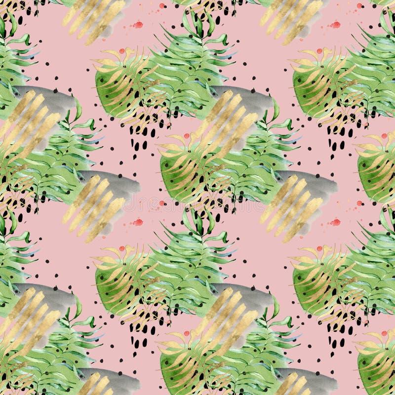 Teste padrão sem emenda tropical de memphis do sumário da colagem Folhas tropicais da aquarela, formas tiradas mão pretas e do ou ilustração royalty free