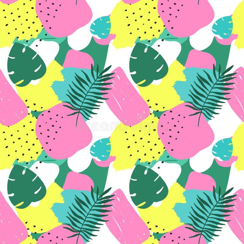 Teste padrão sem emenda tropical do sumário do vetor Mão colorida elementos tirados, colagem de papel fundo exótico das plantas d ilustração stock