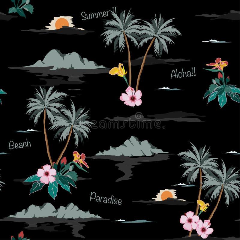 Teste padrão sem emenda tropical escuro da ilha no fundo preto ilustração do vetor