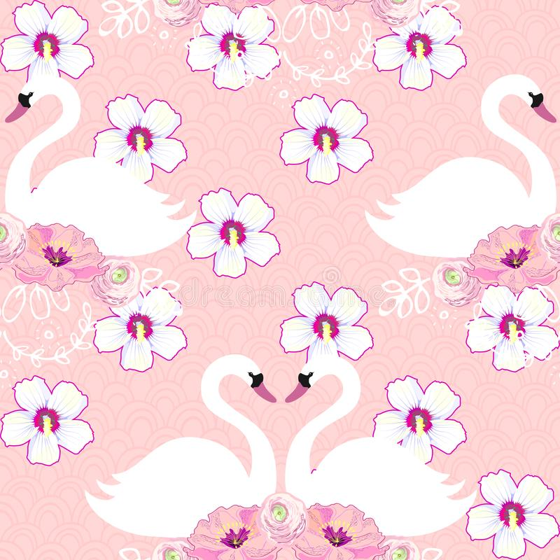 Teste padrão sem emenda tropical exótico com flor e cisnes Vetor ilustração royalty free