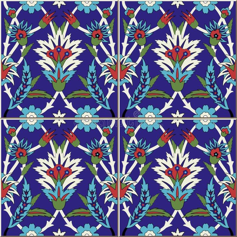 Teste padrão sem emenda Turco, marroquino, telhas portuguesas, Azulejo, ornamento Arte islâmica ilustração do vetor