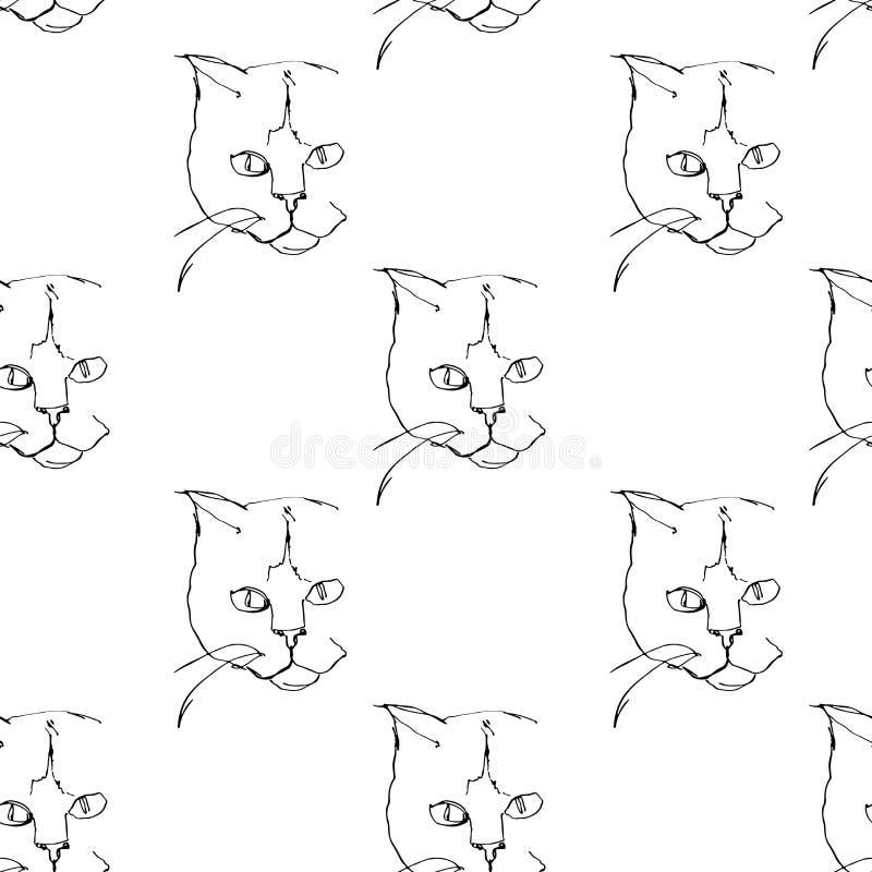 Teste padrão sem emenda Um a lápis desenho contínuo do gato Retrato de Minimalistic do gato ilustração royalty free