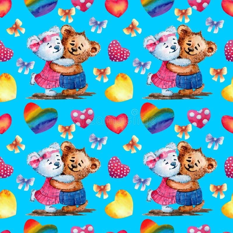 Teste padrão sem emenda Ursos bonitos no fundo dos corações Ilustração da aguarela Fundo para um cartão do convite ou umas felici ilustração do vetor