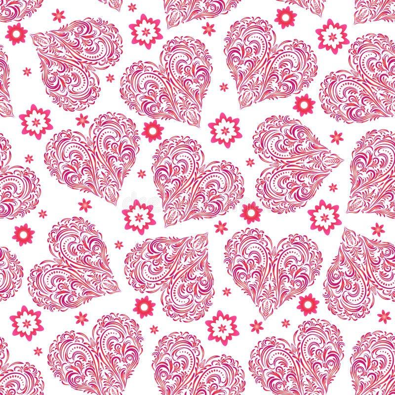 Teste padrão sem emenda, Valentine Hearts ilustração stock
