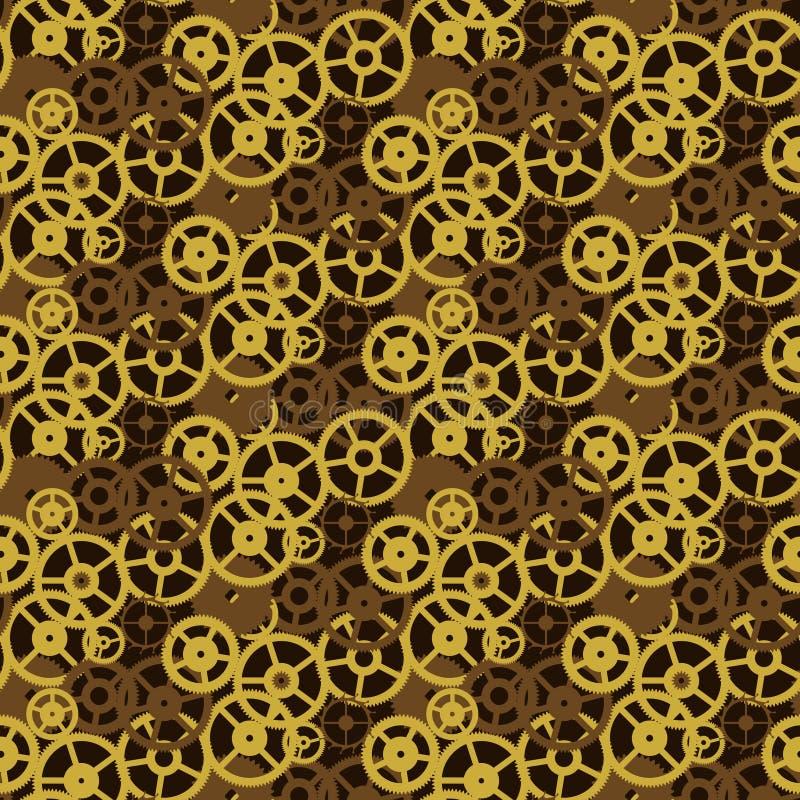 Teste padrão sem emenda velho do mecanismo de engrenagens do fundo do vintage ilustração do vetor