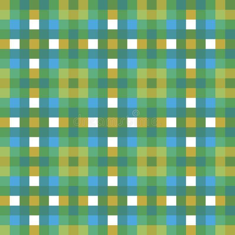 Teste padrão sem emenda verde azul do vetor do pixel do quadrado da textura da tela da verificação da manta de tartã para a tela, ilustração royalty free