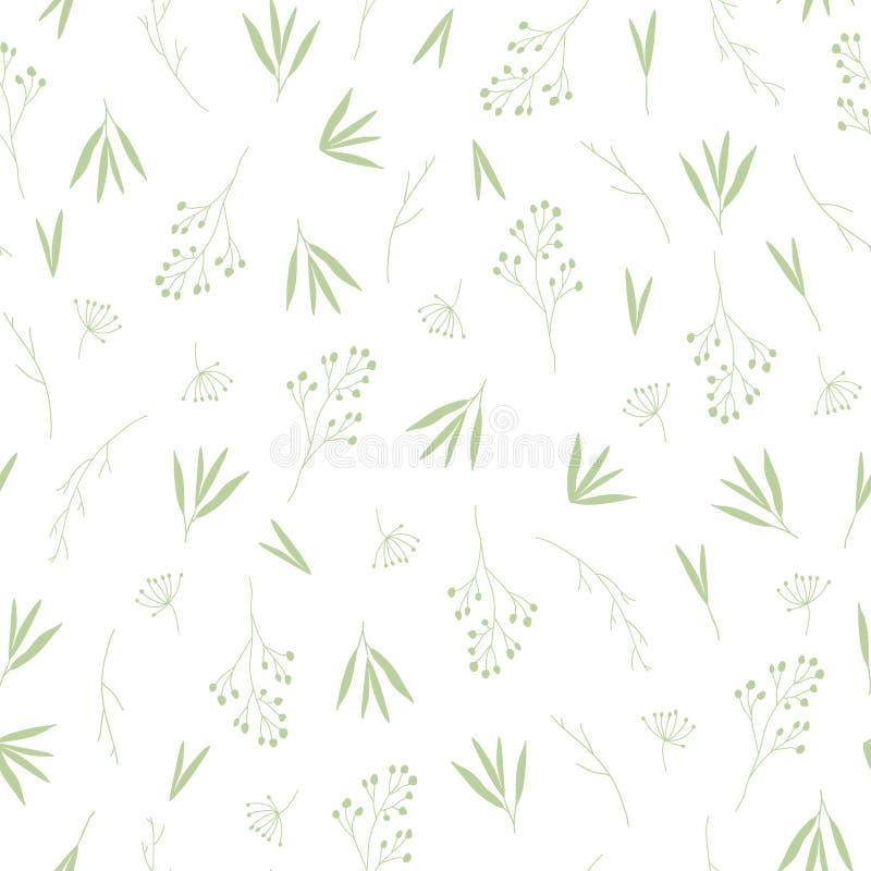 Teste padrão sem emenda verde delicado das folhas de outono da queda ilustração do vetor