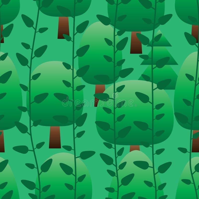 Teste padrão sem emenda verde vertical da árvore da planta ilustração stock