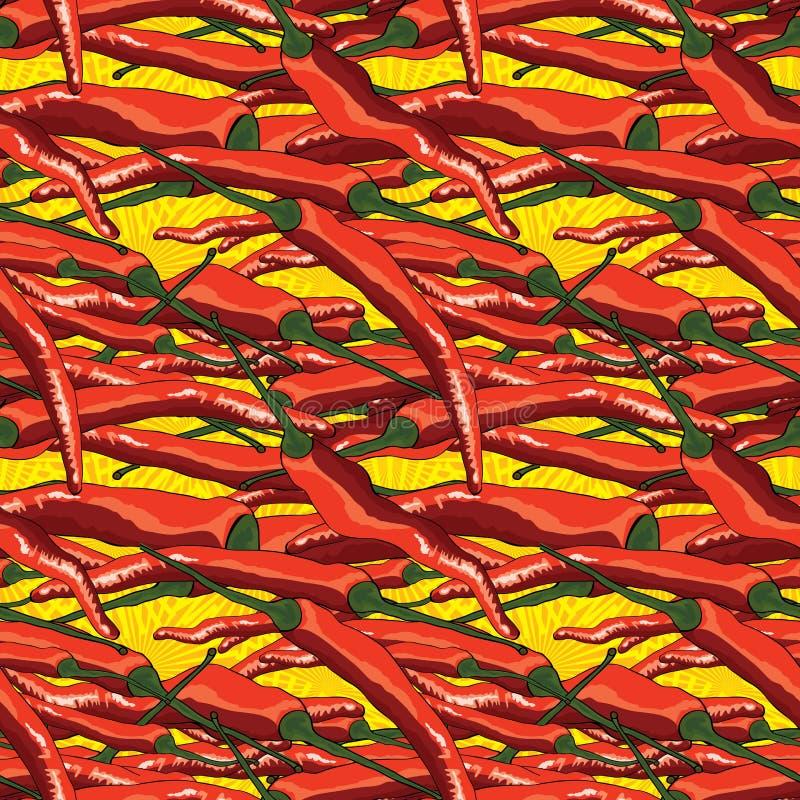 Teste padrão sem emenda vermelho da malagueta picante da tentação ilustração royalty free