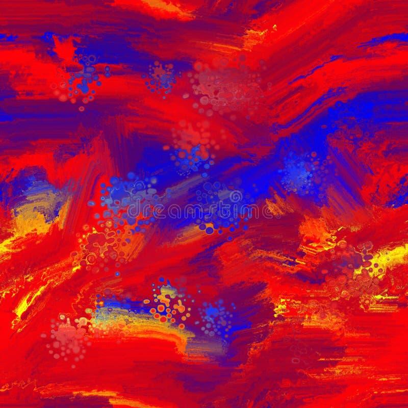Teste padrão sem emenda vermelho do sumário amarelo e azul da pintura a óleo fotos de stock royalty free