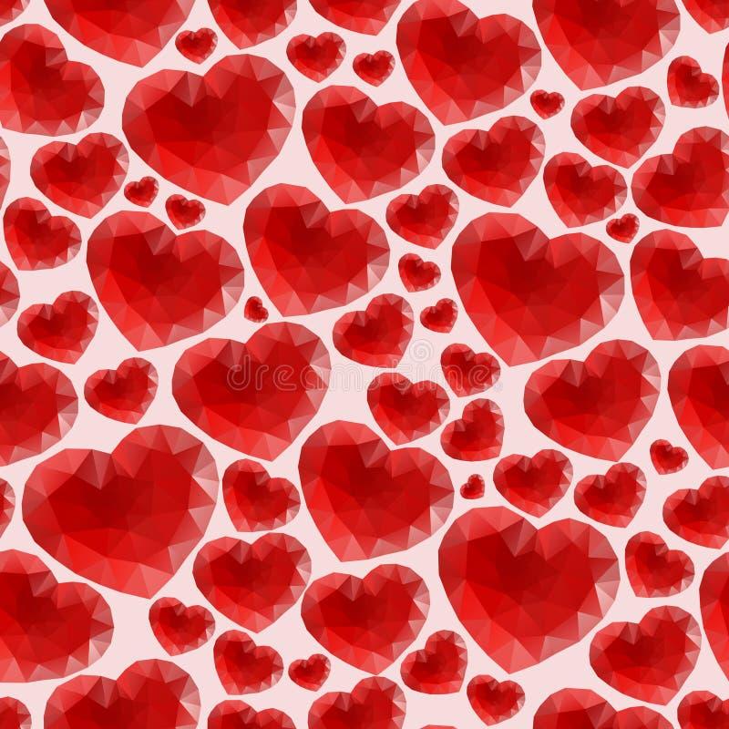 Teste padrão sem emenda vermelho feito de corações brilhantes ilustração royalty free