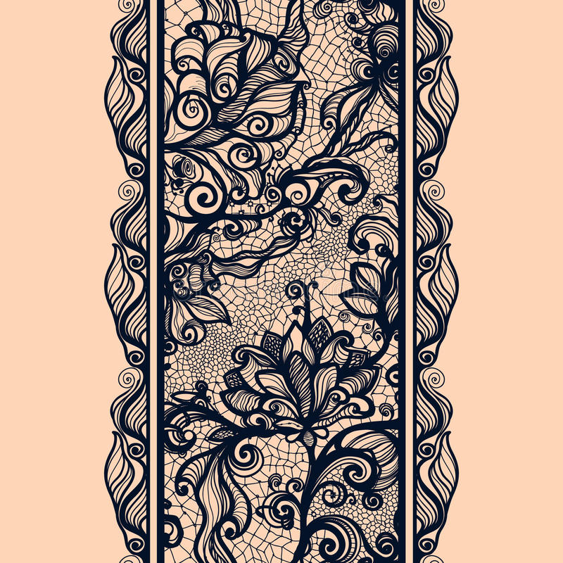Teste padrão sem emenda vertical da fita abstrata do laço ilustração royalty free