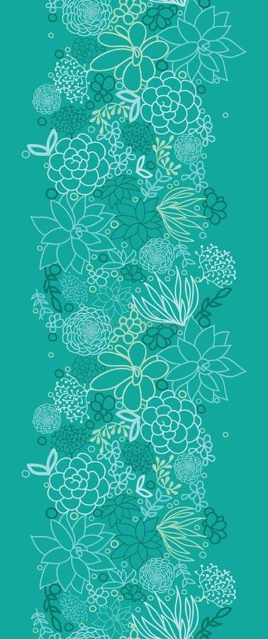 Teste padrão sem emenda vertical das plantas carnudas verdes ilustração royalty free