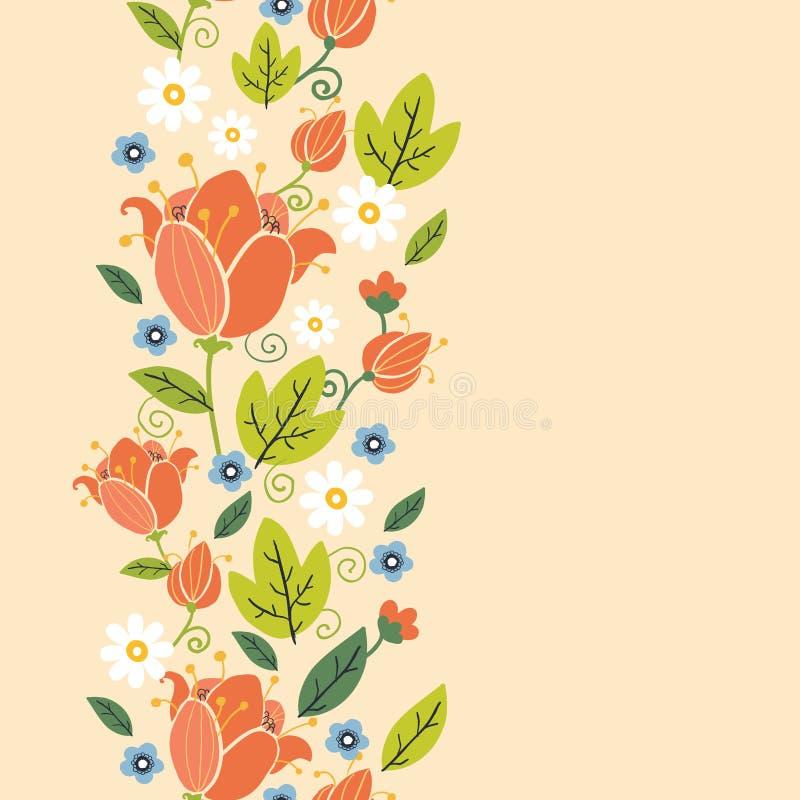 Teste padrão sem emenda vertical das tulipas coloridas da mola ilustração stock