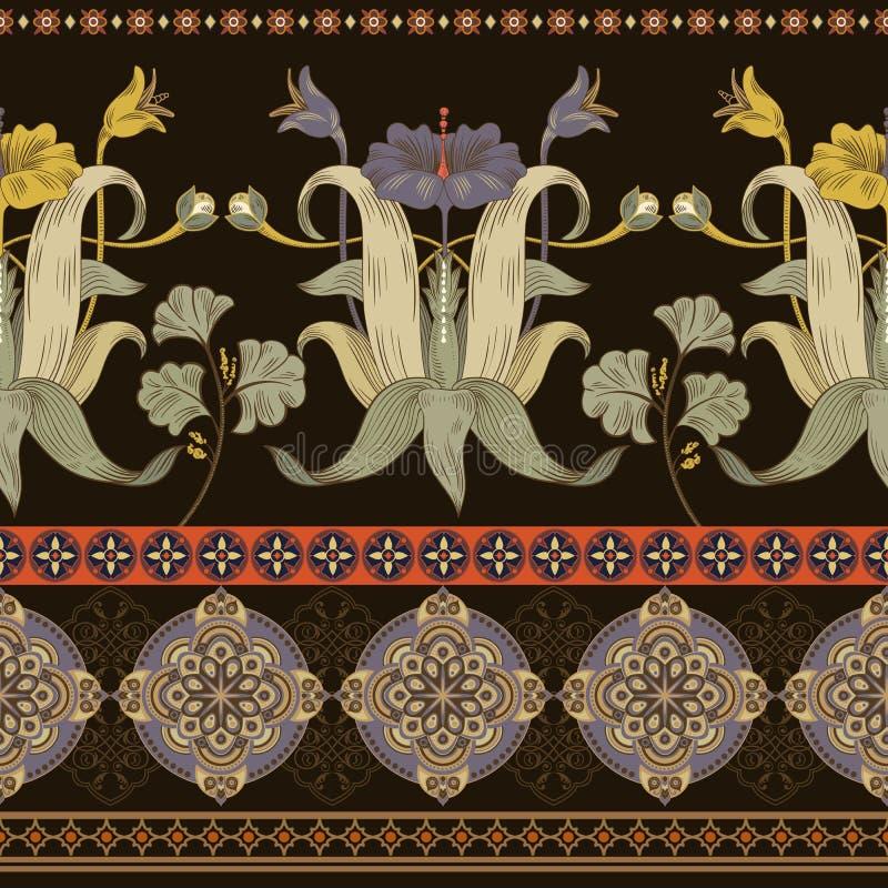 Teste padrão sem emenda vertical, estilo do victorian Papel de parede floral do vintage ilustração stock
