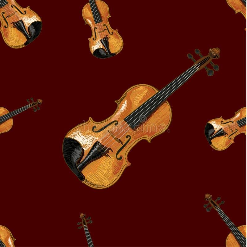 Teste padrão sem emenda, VETOR Ilustration, violino na obscuridade - fundo vermelho ilustração stock