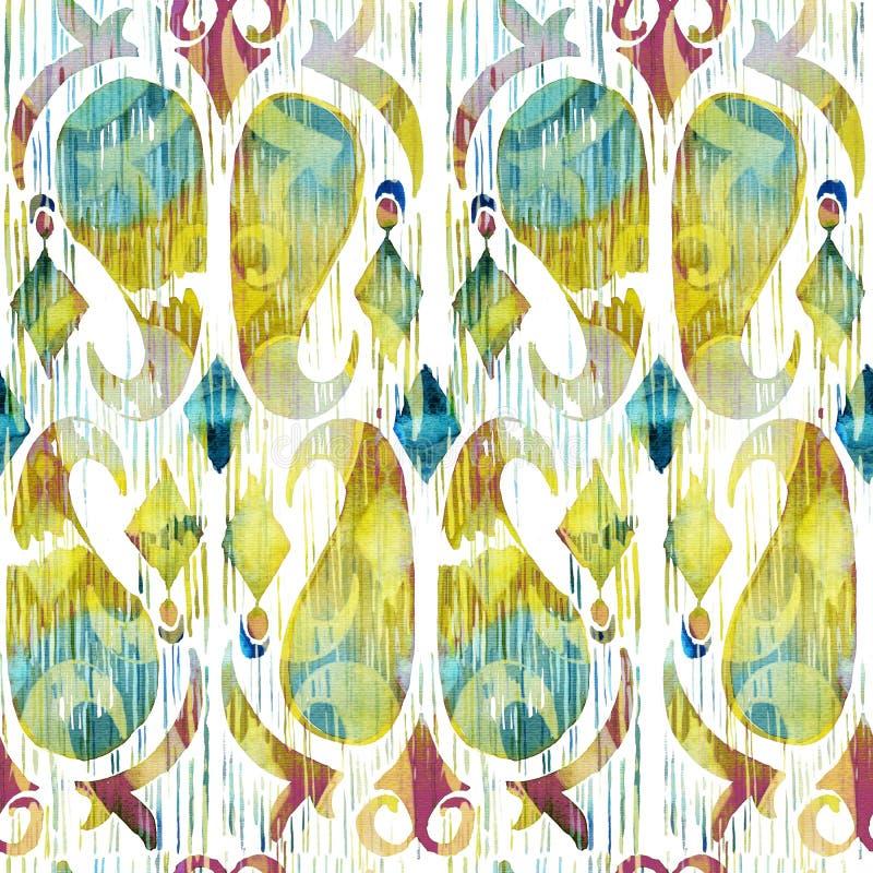 Teste padrão sem emenda vibrante do ikat verde da aquarela Tribal na moda no estilo do watercolour Pena do pavão ilustração do vetor