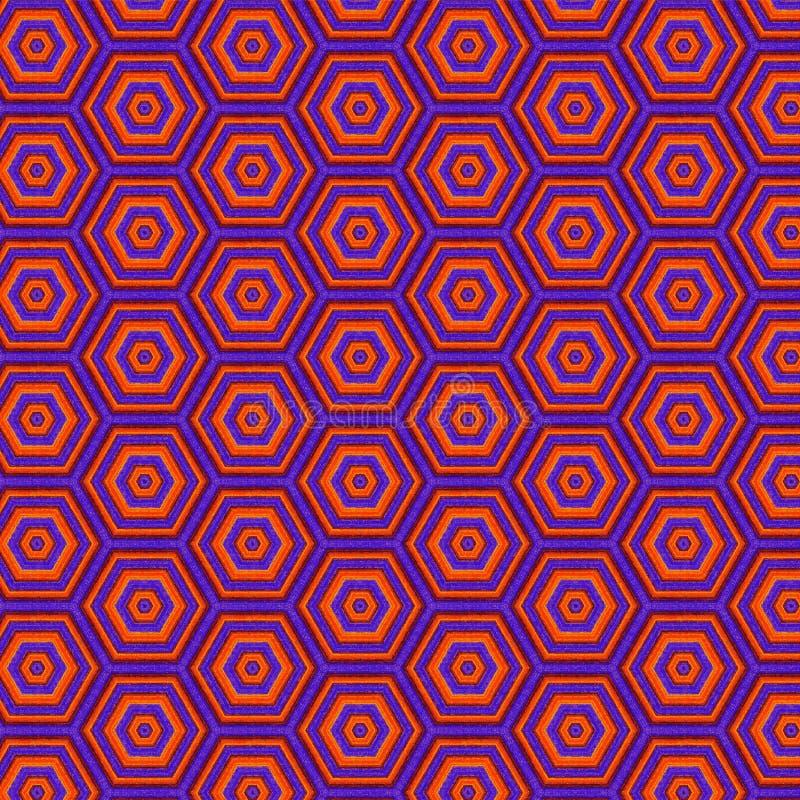Teste padrão sem emenda vibrante pintado colorido dos hexágonos roxos e violetas ilustração stock