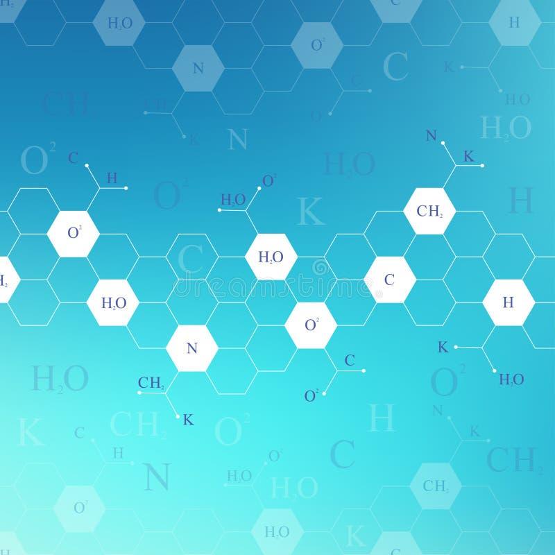 Teste padrão sextavado científico da química Pesquisa do ADN da molécula da estrutura como o conceito Fundo da ciência e da tecno ilustração stock