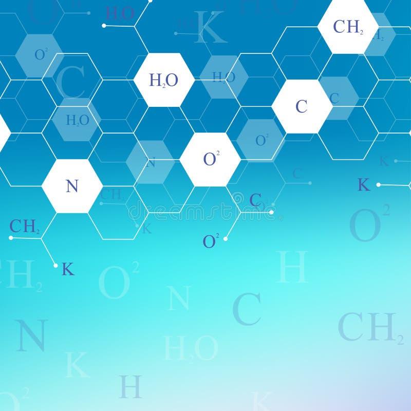 Teste padrão sextavado científico da química Pesquisa do ADN da molécula da estrutura como o conceito Fundo da ciência e da tecno ilustração royalty free