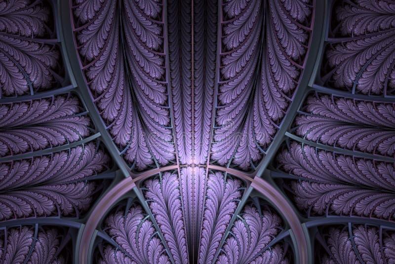 Teste padrão simétrico colorido do fractal como o ornamento Arte do Fractal ilustração do vetor