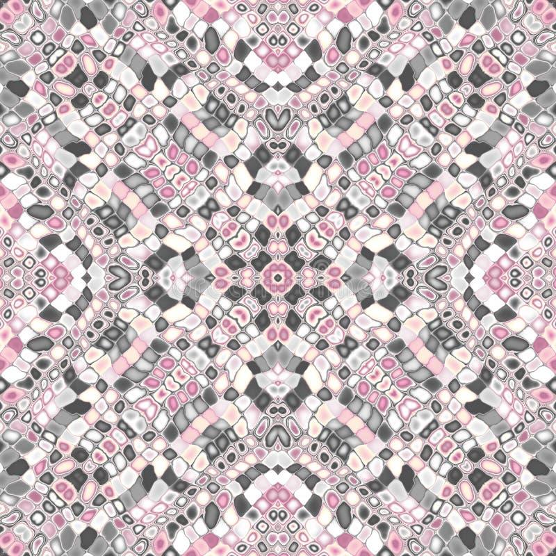 Teste padrão simétrico do mosaico ilustração stock