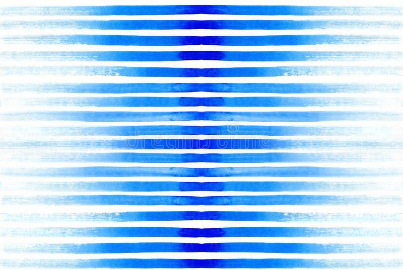 Teste padrão similar da aquarela com linhas azuis brilhantes ilustração do vetor