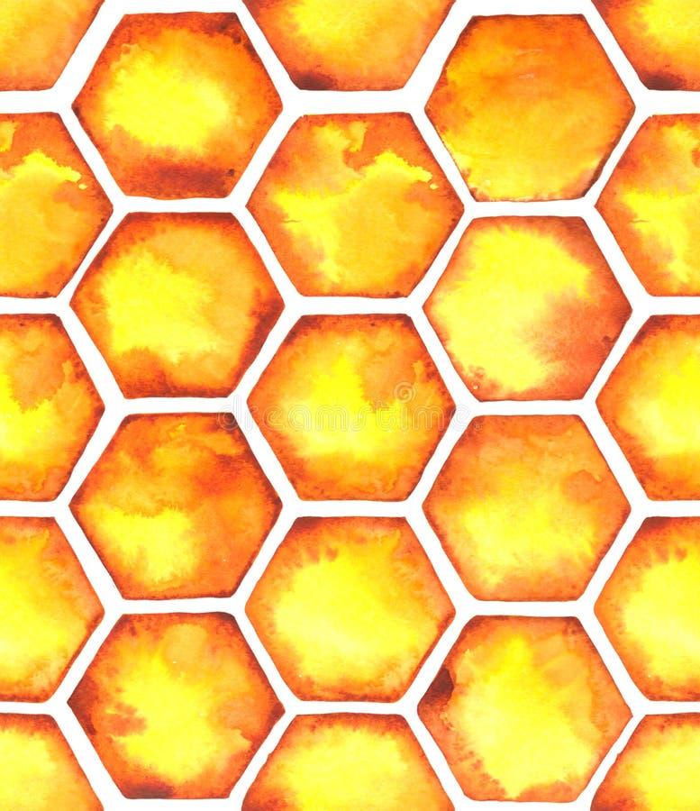 Teste padrão similar da aquarela com os favos de mel alaranjados brilhantes ilustração royalty free