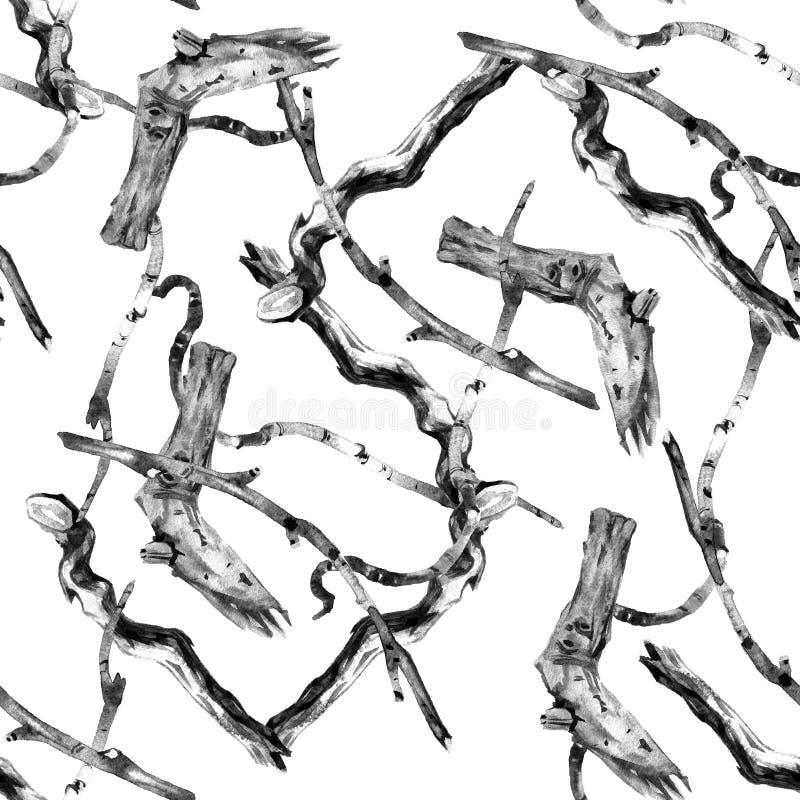 Teste padrão simples da aquarela, ramos de árvore secos velhos, papel de parede sem emenda, teste padrão floral ilustração do vetor