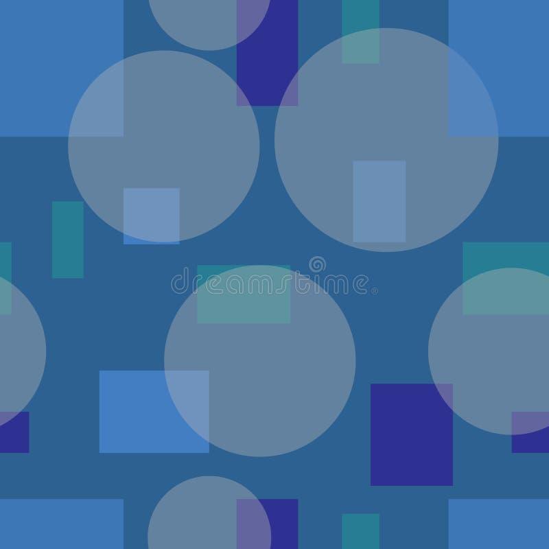 Teste padrão simples dos círculos e dos retângulos Fundo retro azul ilustração royalty free