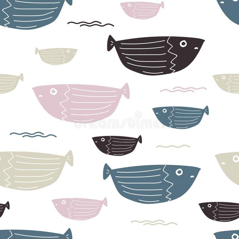 Teste padrão simples dos peixes do mar sem emenda ilustração stock