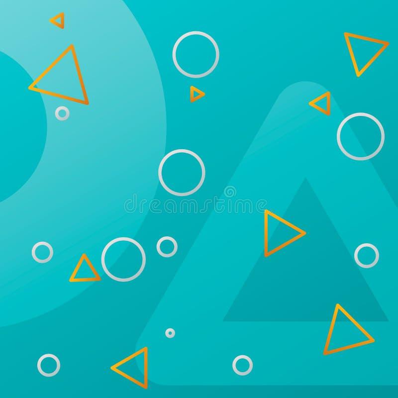 Teste padrão simples geométrico com círculos e triângulos Fundo do inclinação do vetor ilustração stock