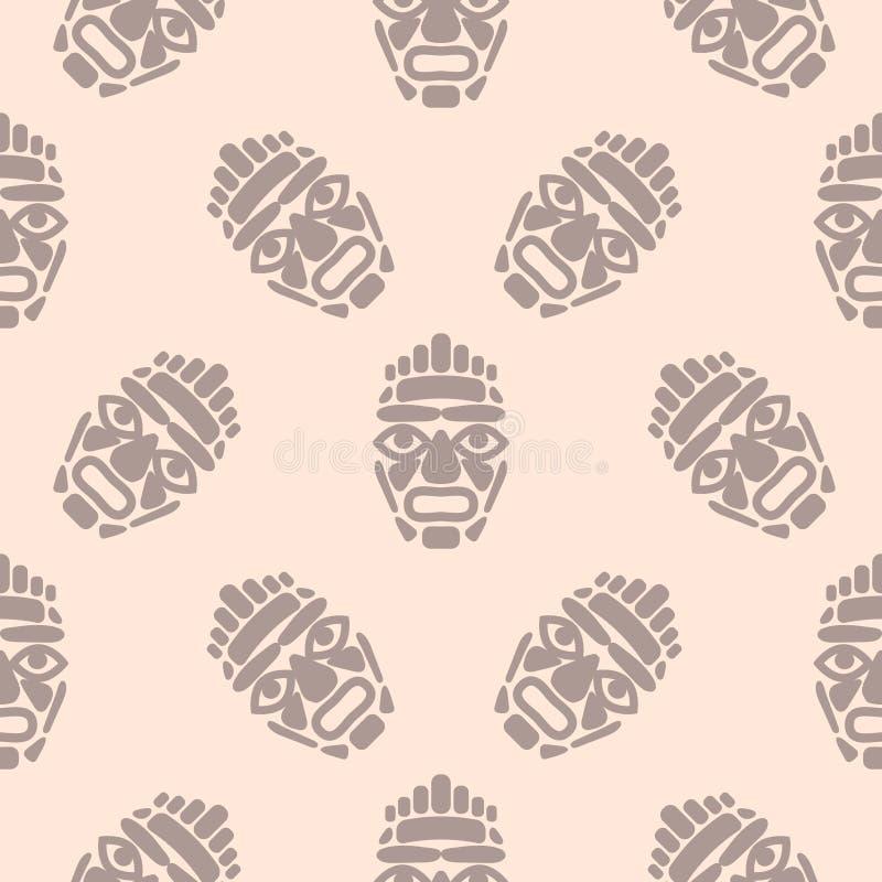 Teste padrão simples sem emenda da máscara do tiki de Havaí ilustração royalty free