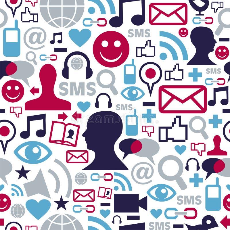Teste padrão social dos ícones da rede dos media ilustração do vetor