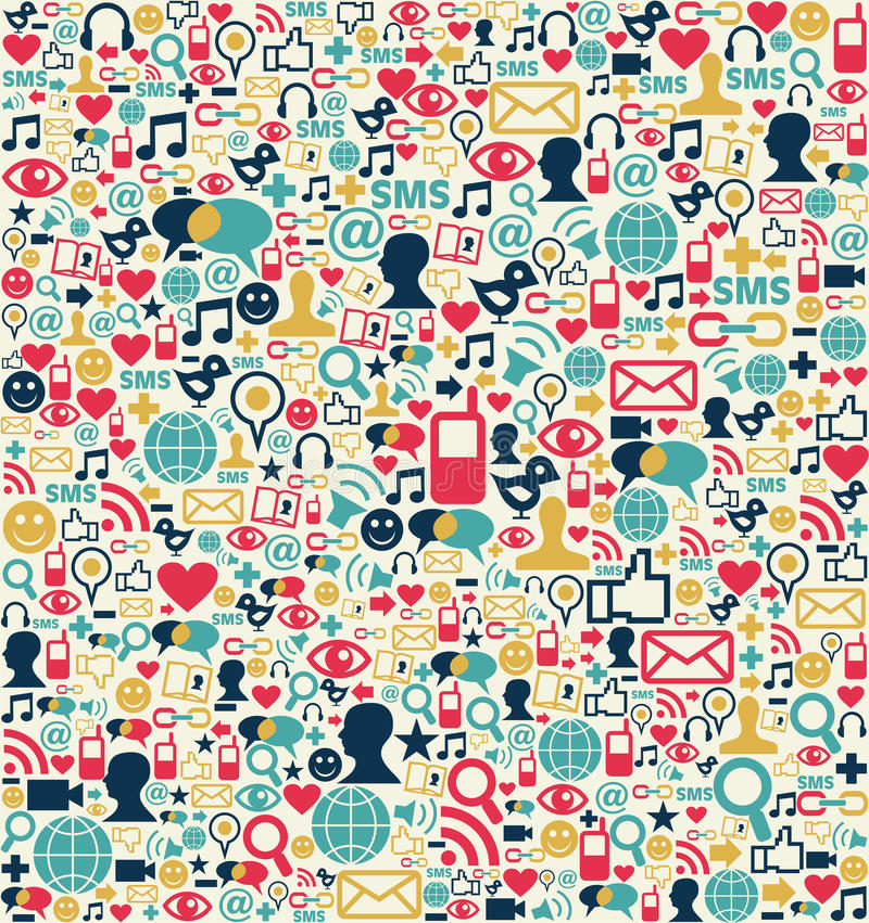 Teste padrão social dos ícones da rede dos media