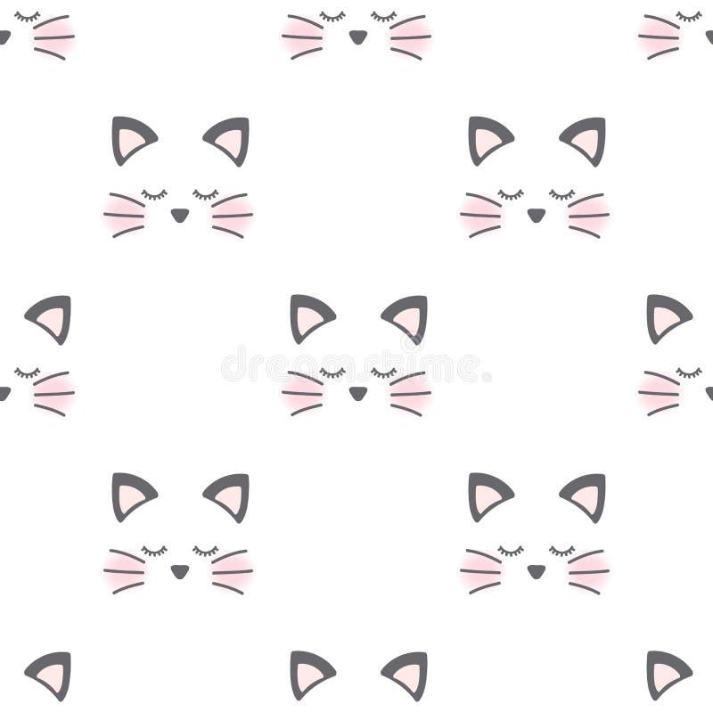 Teste padrão sonolento da cara do gato ilustração do vetor