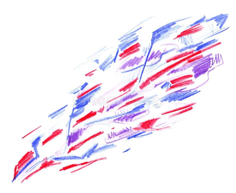 Teste padrão superficial diagonal do sumário com as linhas vermelhas e azuis tiradas à mão com os lápis coloridos isolados no fun ilustração do vetor