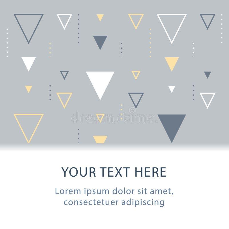 Teste padrão sutil, projeto gráfico, fundo geométrico abstrato com triângulos, encabeçamento da decoração, contexto criativo ilustração royalty free