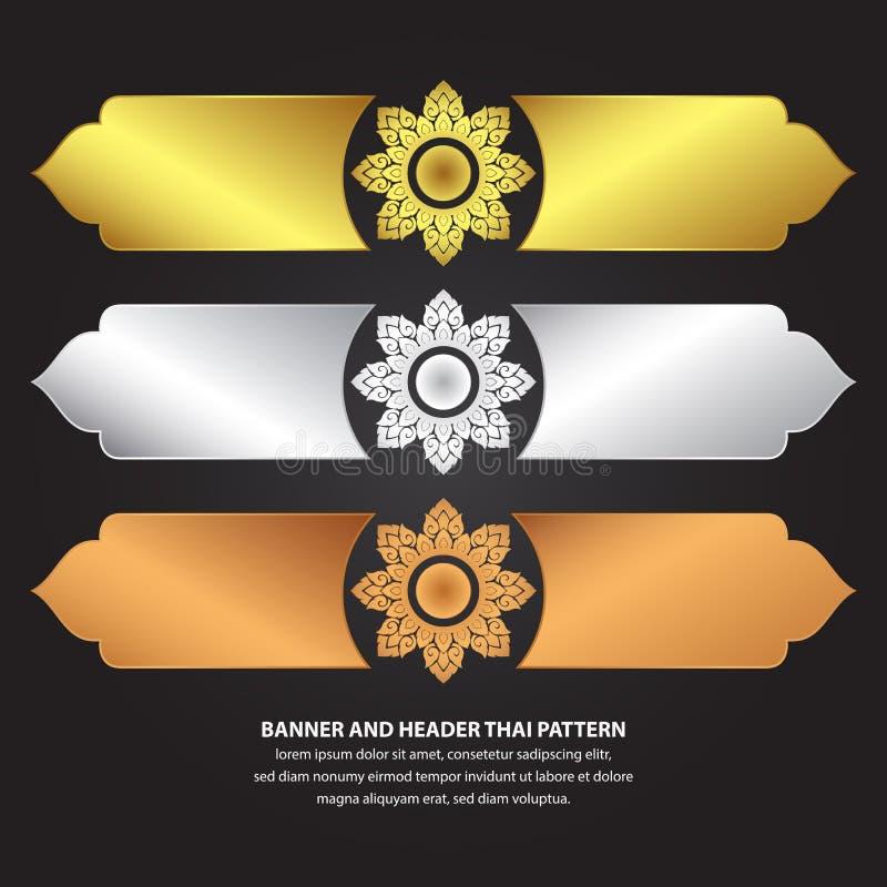 Teste padrão tailandês da bandeira e do encabeçamento ilustração do vetor