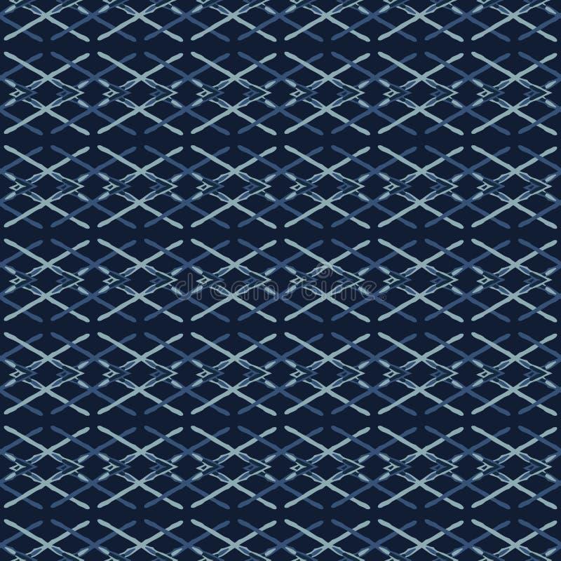 Teste padrão tecido de Criss Cross Lines Seamless Vetora do azul de índigo da fita ilustração do vetor