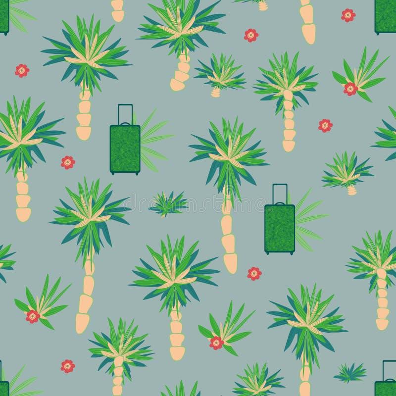 Teste padrão temático do feriado sem emenda com malas de viagem e flores das palmeiras ilustração do vetor
