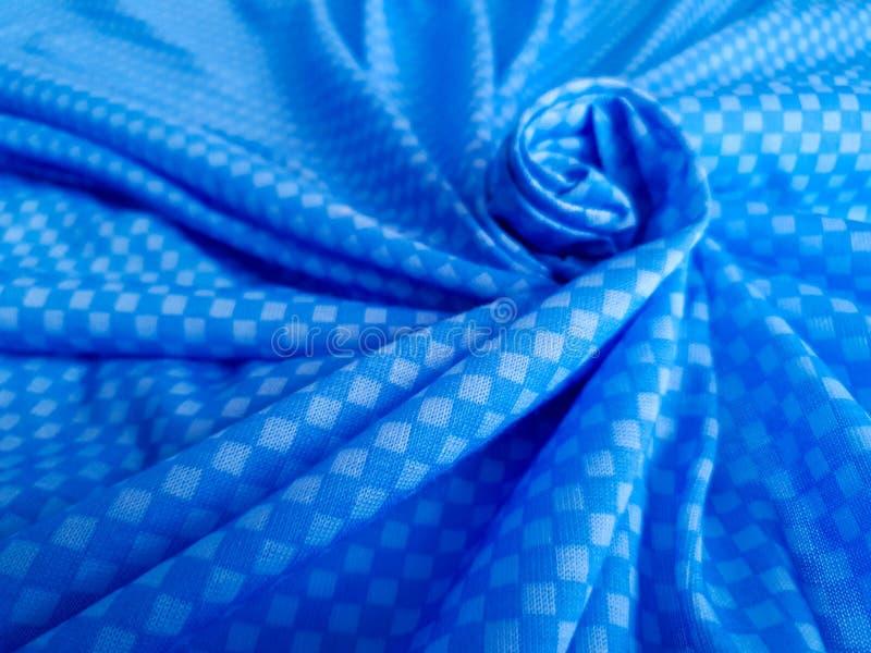 Teste padrão, textura, fundo, papel de parede Tecido de algodão azul macio com o ornamento geométrico minimalistic, retângulos, d imagens de stock